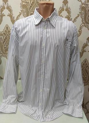 Белая полосатая рубашка tom tailor размер xxl