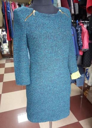 Теплое буклированое платье с замками