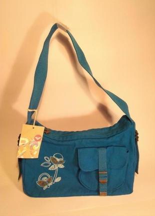 Kлассная сумка на плечо, ткань,  вышивка. roxy