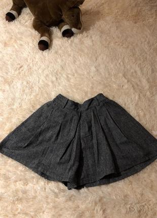 Шерстяные щорты-юбка меланж