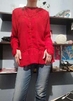 Шифоновая красная блуза  asos