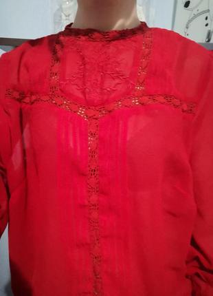 Шифоновая красная блуза  asos4 фото
