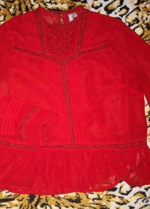 Шифоновая красная блуза  asos5 фото