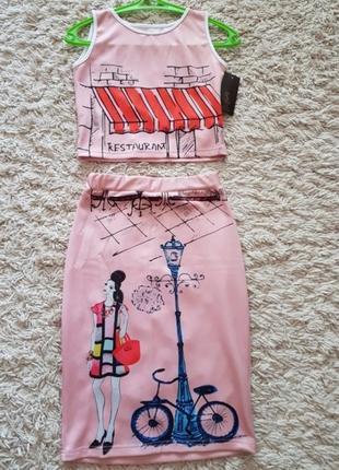 Продаю летний костюм из дайвинга топ+юбка с красивым принтом!