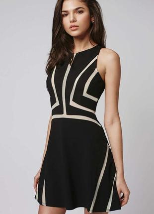 Шикарное черное платье со вставками из сетки topshop
