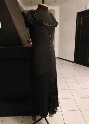 Чёрное платье в пол шифон пайетки камни