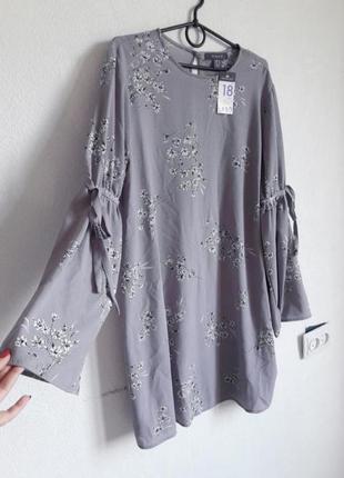Шикарное платье туника лилово-серого цвета