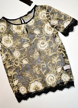 Шикарная золотая блуза сетка с вышивкой цветы