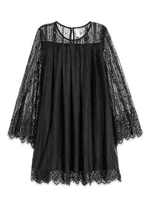 Праздничное черное кружевное платье мини h&m