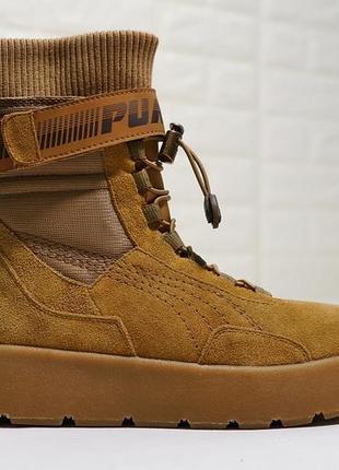 Женские ботинки puma x fenty scuba boot brown р.36-39