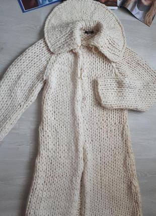Вязаное пальто hugo boss/ длинный кардиган/2я вещь в подарок