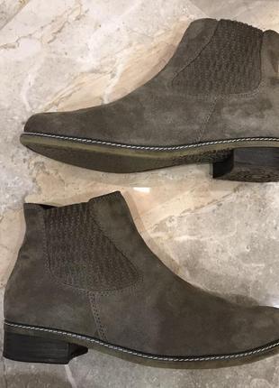 Замшевые ботинки, челси gabor, 39-40 р. чоботи, сапоги