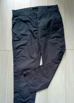 Темные серые в полоску брюки спортивные, повседневные, в спортивном стиле