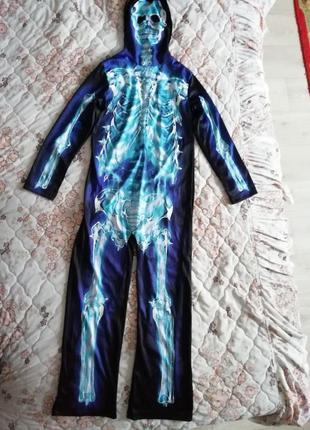 Карнавальный новогодний костюм скелет, кощей безсмертный светится 9-10лет george