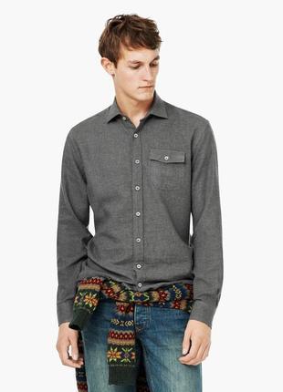 Сорочка тепла зимова рубашка зимняя mango man розмір m
