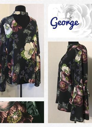 """Безумно красивая 🌹 блуза с чекером и воланами на рукавах """"цветочный принт"""" размер l/xl."""