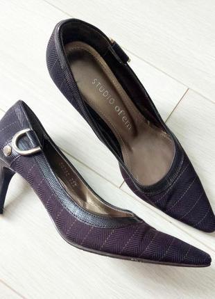Базовые коричневые туфли, лодочки на шпильке, текстильные 23,5см studio sico