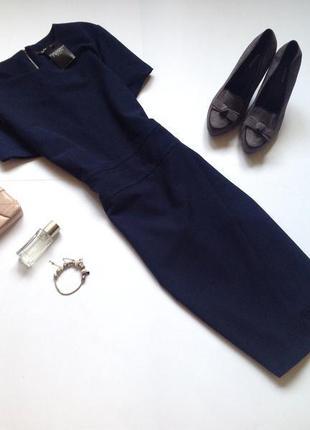 Темно синее платье футляр миди