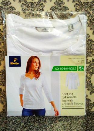 Tchibo фирменная хлопковая блуза, топ с укороченным рукавом 3/4 оригинал