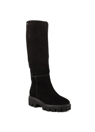649цп женские сапоги viko,замшевые,на каблуке,на толстой подошве,на низком ходу
