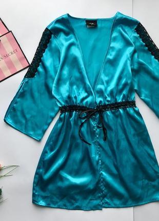 Роскошьный атласный бирюзовый халат с кружевными вставками