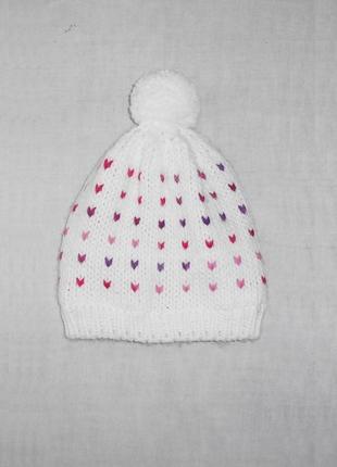 Вязаная теплая зимняя утепленная шапка с бубоном с помпоном на флисе