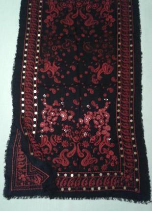 Шаль этно  шарф накидка с вышивкой черный + 160 шарфов и платков на странице