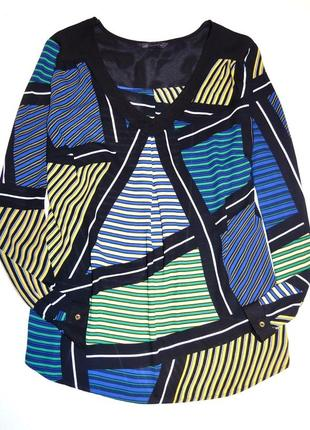 M&s шифоновая блуза с v -образным вырезом в геометрический принт. р-р l-хl