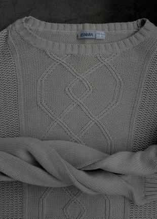 Удлиненный светлый бежевый свитер, джемпер с косами esmara