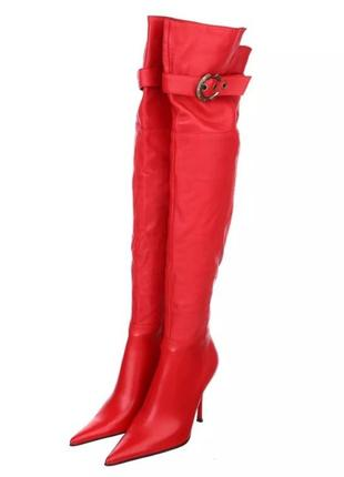 Кожаные красные сапоги ботфорты на шпильке famanni. натуральная мягкая кожа.