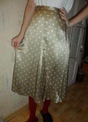 Шикарная шелковая юбка в горошек