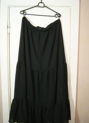 Юбка рюши шифон черная в пол макси полупрозрачная