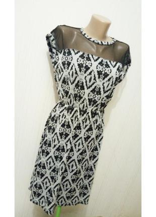 Комбинированное платье club l трикотаж сетка узор