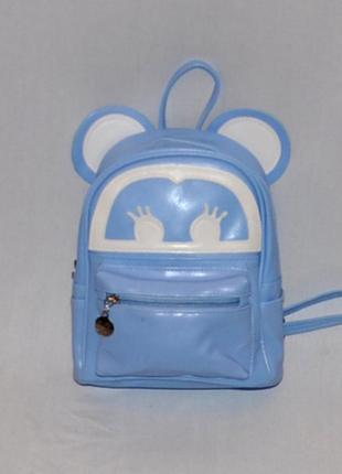 Голубой рюкзак с ушками микки мауса