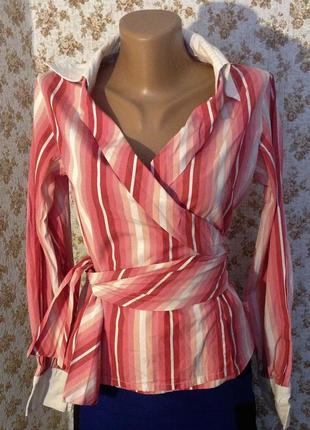 Блуза рубашка на запах размер м британский бренд hooch