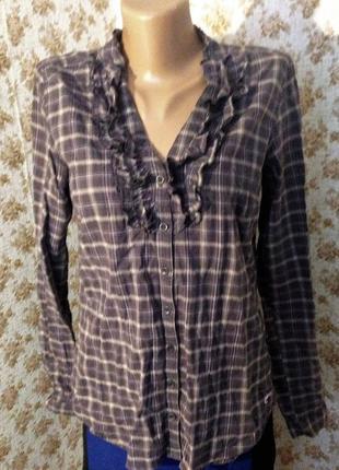 Красивая рубашка в клетку, блуза в клетку с рюшами,  размер м