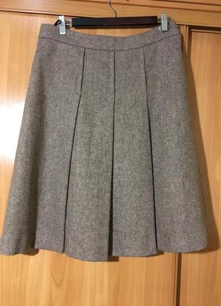 Тёплая шерстяная юбка в крупную складку.100%шерсть