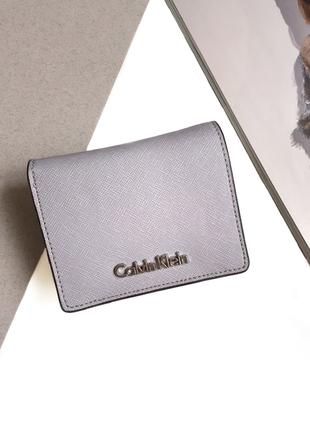Маленький кошелек (кардхолдер) calvin klein из натуральной сафьяновой кожи! оригинал!