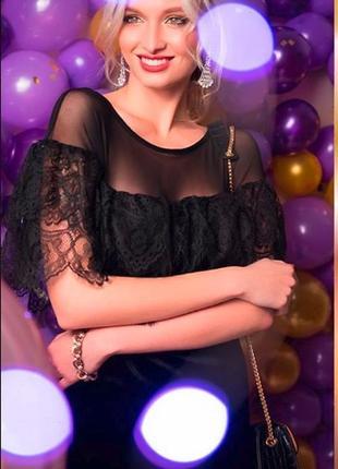 Черное новогоднее праздничное платье миди с кружевом и сеткой