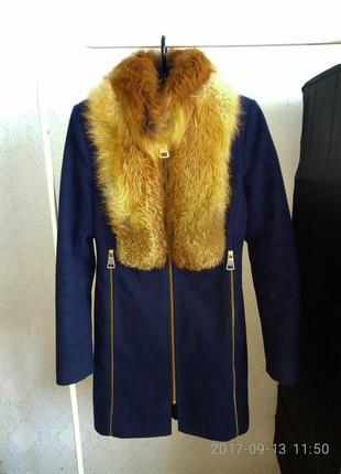 Зимнее кашемировое пальто с мехом лисы натуральный мех