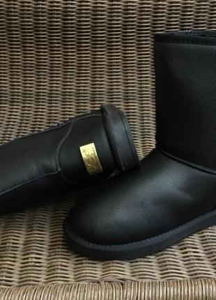 40,41р 42р 43р 44р 45р 46 р угги черные мужские ботинки дутики эко кожаные эко кожа
