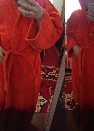 Мужской теплый банный домашный халат с капюшоном махровый махра яркий