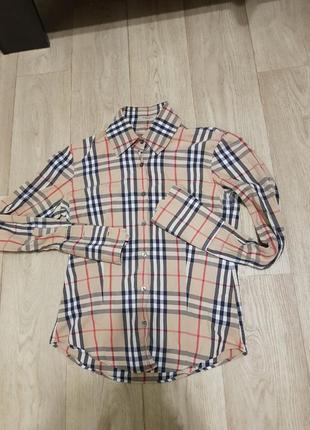 Рубашка burberry в клеточку оригинал размер s барберри лондон блузка оригинал