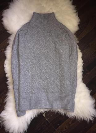 Объёмный свитер кофта  в косы с стойкой горловиной хс-с