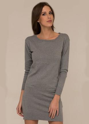 Базовое трикотажное платье хлопок вискоза ангора
