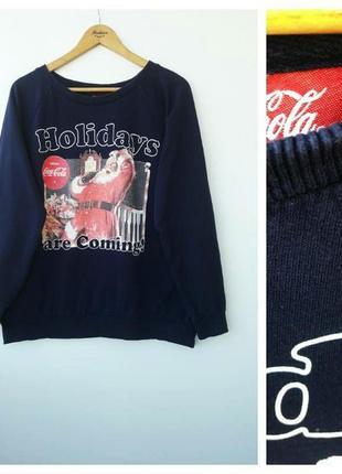 Темно синий свитшот с дедом морозом новогодний свитер большой размер 4xl