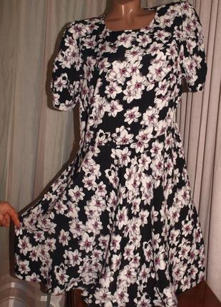 Красивое платье (л замеры) 100% вискоза, не тянется, с узором, отлично смотрится
