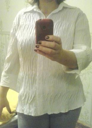 Белая блузка блузон рубашка  не требующая глажки 50- 52р.