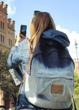 Молодежный стильный джинсовый рюкзак.