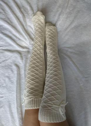 Гольфы вязаные выше колен белые, чулки, носки, гетры, колготки